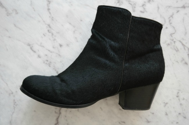 pony hair ankle boot