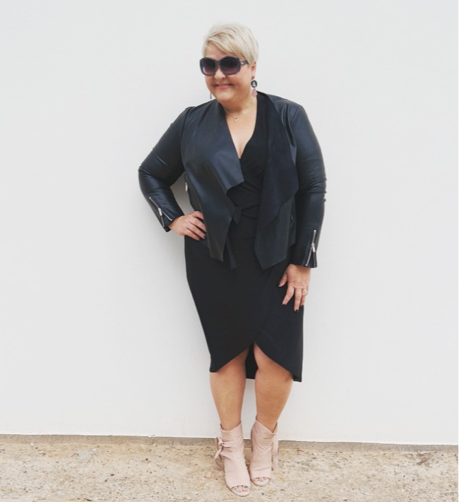 plus size dress and leather jacket