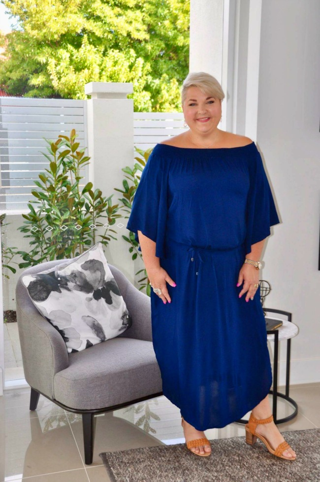 full length blue dress styling curvy